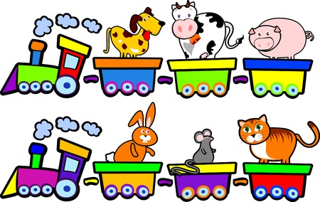 Funny trains with farm animals, vector