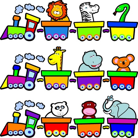 Funny trains with jungle animals, vector