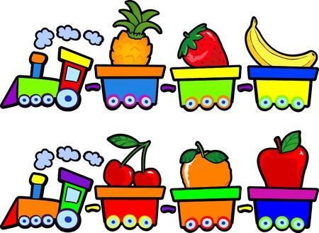 Los trenes divertidos con frutas, vector
