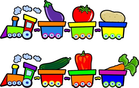 Funny trains with vegetables, vector Vetores