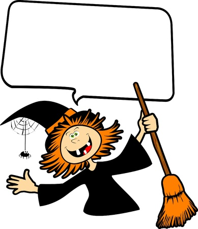 witch spider: Funny witch Halloween with customizable balloon white, vector