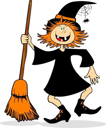 heks: Een grappige heks springen de bezem. Vector