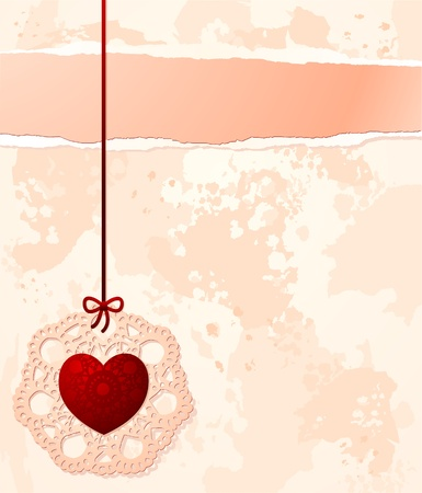 Vintage background with heart and copy space, vector