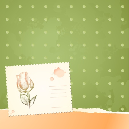 Vintage background with floral card, vector  Vector