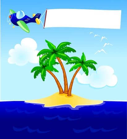 Plane and blank banner over the sea Vector