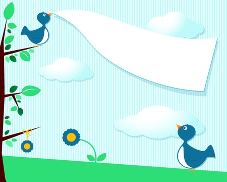 Cute birds and blank banner, customizable background
