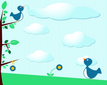 Cute birds and clouds, customizable background Vector