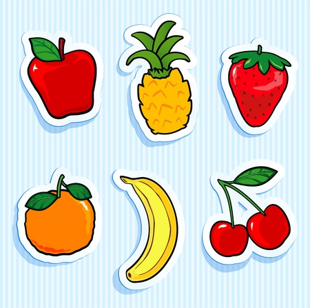 Set of fruit stickers. Vector icons Stock Illustratie