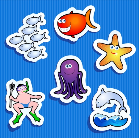 Set of stickers with maritime subjects, vector icons  Vector