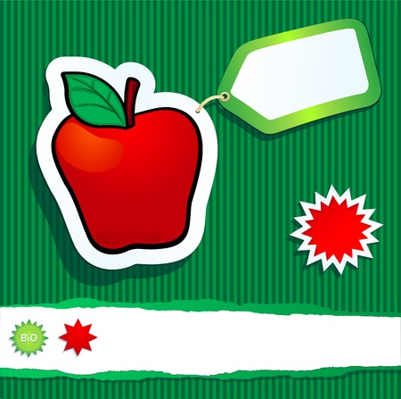 apple leaf: Bio background with apple and label. Vector image