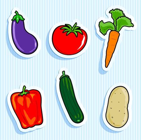 calabacin: Conjunto de iconos vectoriales, pegatinas vegetales Vectores