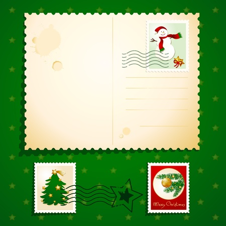 Christmas postcard with stamps, vector Illustration