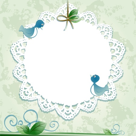 doilies: Fondo Vintage con las aves. Imagen vectorial