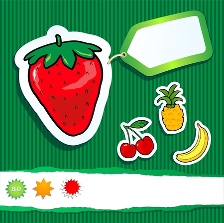 Bio background with fruits and label. Vector image