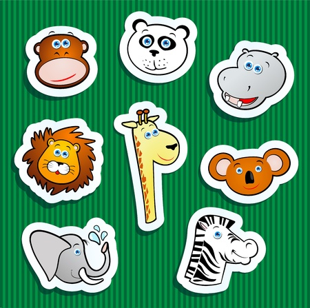 Set of vector icons, jungle animal stickers