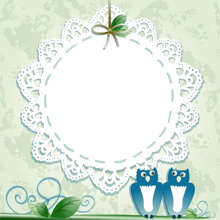 doily: Vintage background with owls. Vector image Illustration