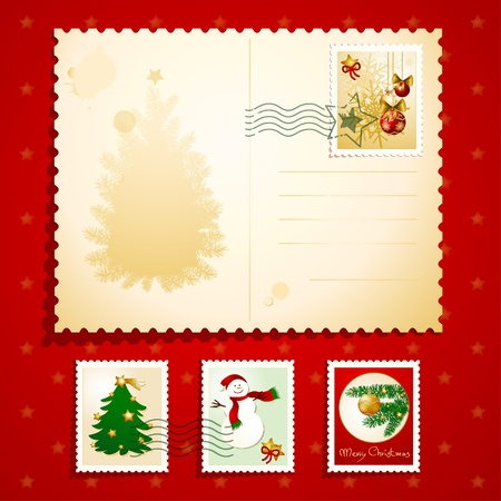 old postcards: Christmas postcard with stamps, vector background