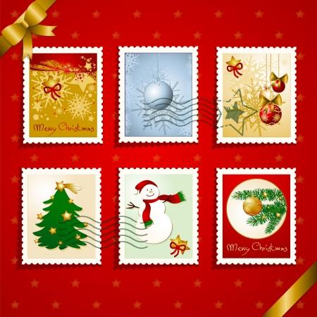 christmas mail: Set of Christmas stamps and postmarks. Vector  Illustration