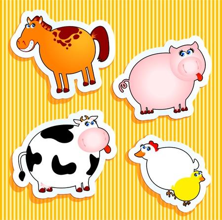 cow bells: Set de iconos vectoriales, pegatinas de animales de granja.