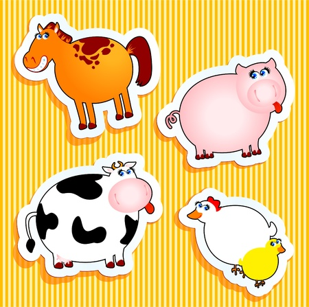 children cow: Set of vector icons, animal farm stickers.
