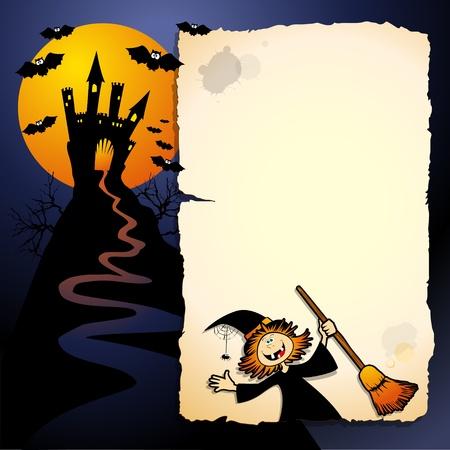 cartoon halloween: Halloween funny background, vector image