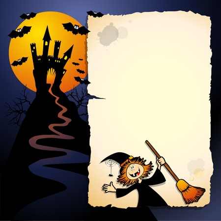 Halloween funny background, vector image