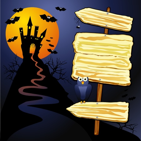 manor: Halloween background with sign. Illustration