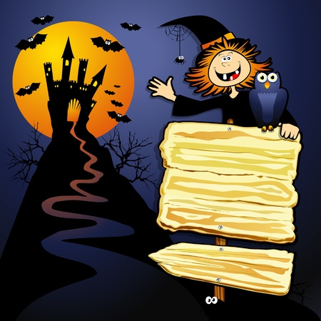 Halloween background with sign and witch. Vector