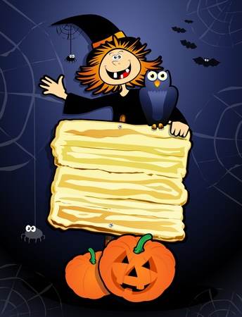 nocturnal: Halloween background with sign and witch.