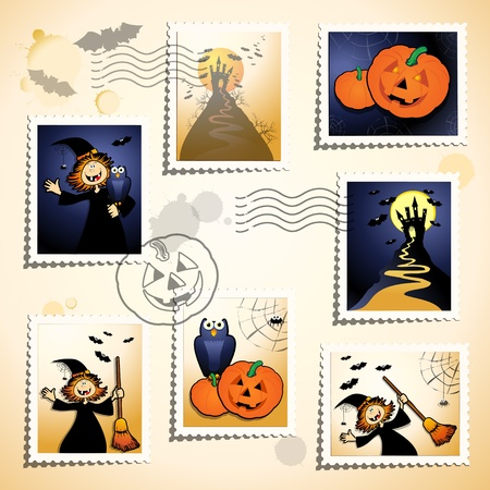 Series of funny stamps and postmark, Halloween theme. Vector