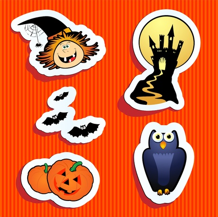 Series of funny stickers, Halloween theme. Vector  Vector