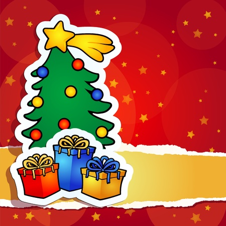 christmas background with tree and gift, vector  イラスト・ベクター素材