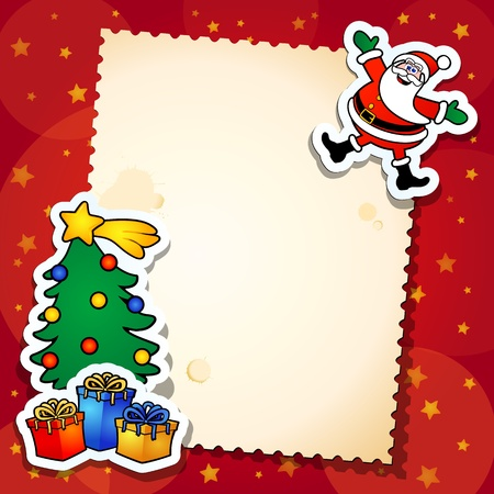 christmas invitation: christmas background with tree and gift, vector Illustration