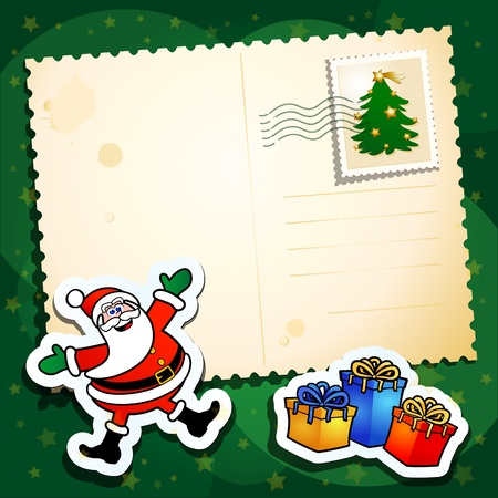 Christmas background with Santa and blank card