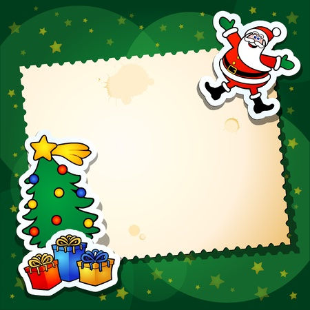 santa claus greeting: Christmas background with Santa and blank card