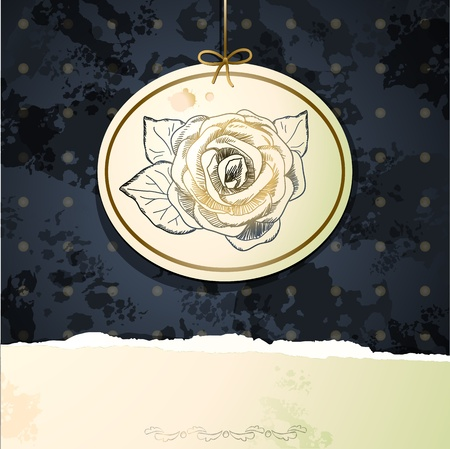 Vintage background with rose Vector