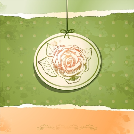 Vintage background with rose Stock Vector - 10983706