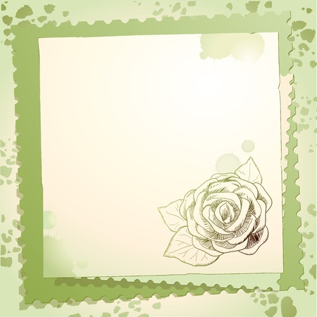 Vintage background with rose, vector