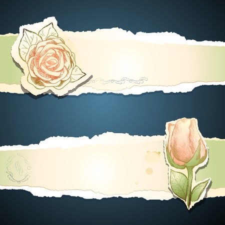 victorian valentine: Vintage banners with roses, vector