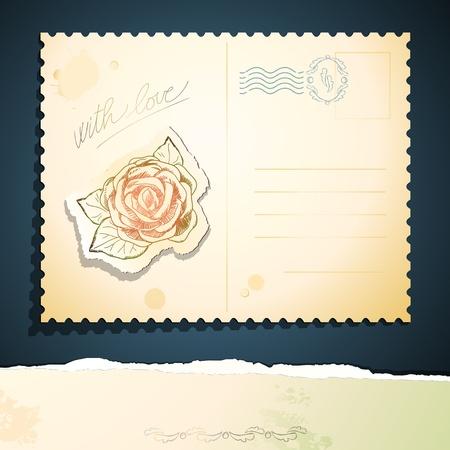 cartoline vittoriane: Cartolina d'epoca di rosa, vettore