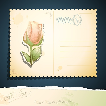 Vintage postcard with rose, vector Vettoriali