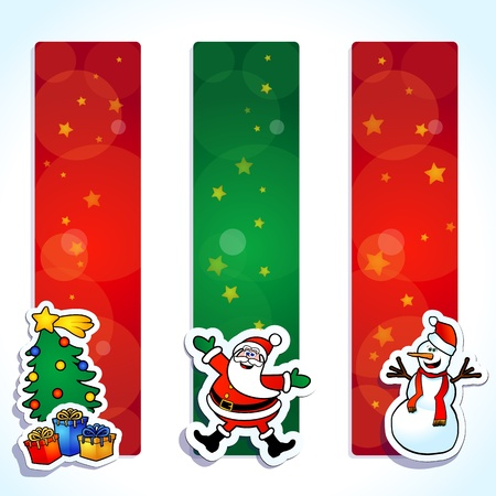 Set of funny banners, Christmas theme. Vector