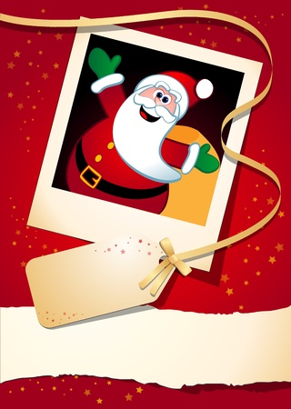 Christmas background with funny Santa, vector Vector