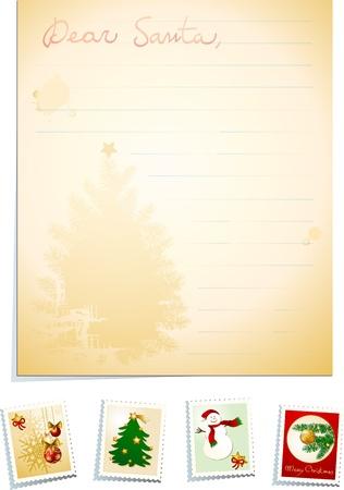 my dear: Lettera a Babbo Natale con francobolli, sfondo vettoriale