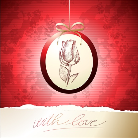 Valentine card with rose, vector background Vector