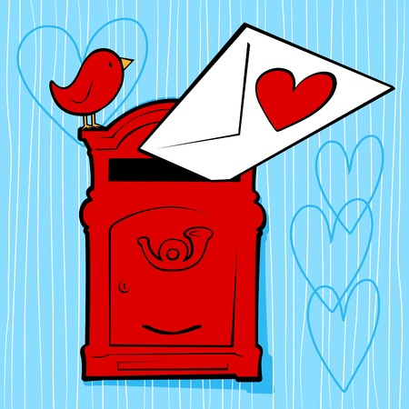 post box: Funny background with mailbox and love letter, vector