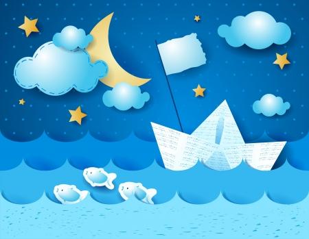 hadas caricatura: Barco de papel por la noche