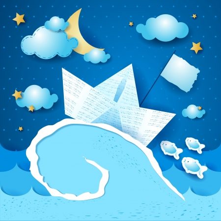 storm cloud: Paper boat in the storm Illustration