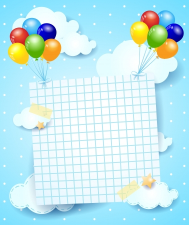 Ballons and paper sheet, vector illustration Vector