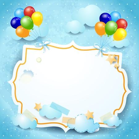 Ballons and custom board, vector illustration